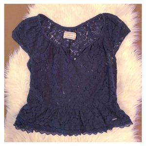 Abercrombie & Fitch Navy Blue Lace Top, size S